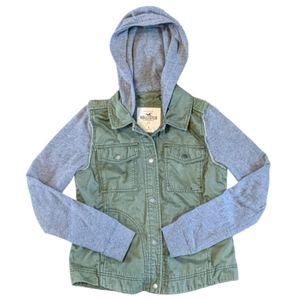 Hollister Sweatshirt Vest Army Green & Gray Small